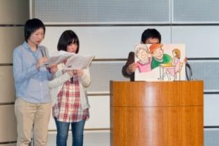 「新潟水俣病との出会い」を上演する「こっこ」左から板屋越由希さん、山口茉依さん☆