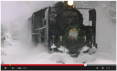 【YouTube】吹雪の中の運転!SLクリスマストレイン in 磐越西線 12/25運転分(©ngym183)