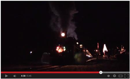 【YouTube】SLクリスマストレイン日出谷駅発車・汽笛の三本締め(©dream185express)