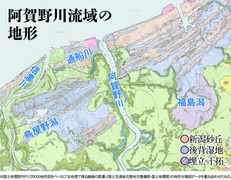 阿賀野川流域の地形図