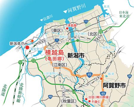 阿賀野川流域地図~横越島