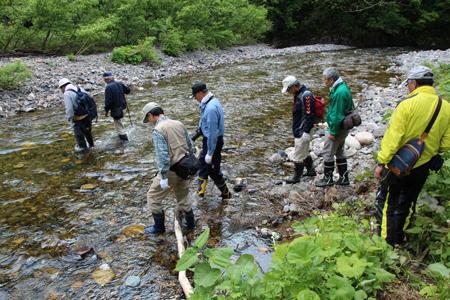 5.持倉銅山踏査(2014年5月)川を渡る