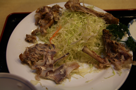 11とりかん(五泉市)小間切れ定食・四つ切:(鶏肉のから揚げ)