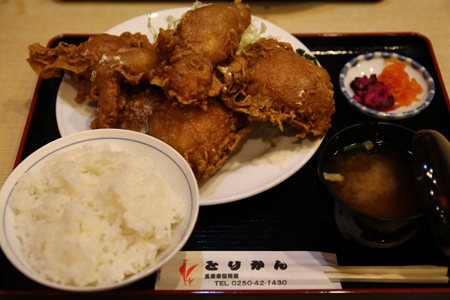 3とりかん(五泉市)小間切れ定食・四つ切:(鶏肉のから揚げ)