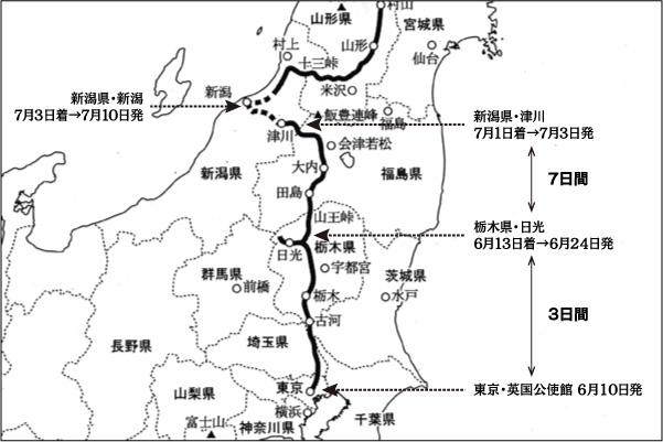 「日本奥地紀行」ルート図拡大(イザベラ・バード紀行『日本奥地紀行』の謎を読む)